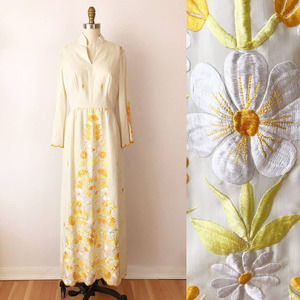 70s Prairie Embroidered Floral Maxi Dress Cotton